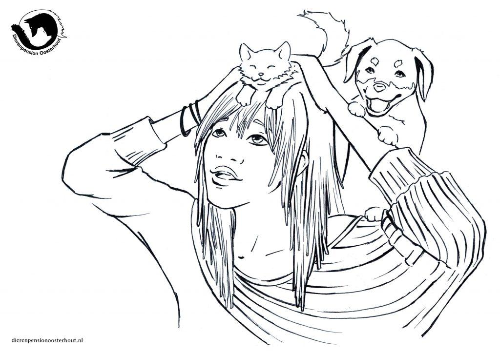 dpo dierenpension oosterhout kleurplaat girl cat dog hond kat meid