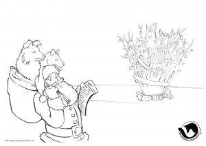 dpo dierenpension oosterhout kleurplaat kerst kerstman hond kerstboom