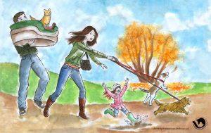 dpo dierenpension oosterhout wallpaper herfst kind hond renen man vrouw kat